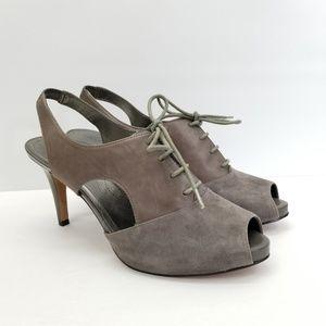Tahari Leather Peep Toe Lace Heels